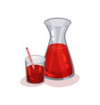 jug and glass of fresh tomato juice delicious and vector image