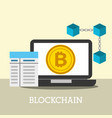 laptop bitcoin internet blockchain business vector image vector image