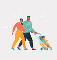 man and woman with bain stroller vector image vector image