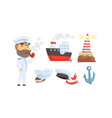mariner attributes with seaman character standing vector image