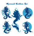 mermaid emblem set vector image vector image