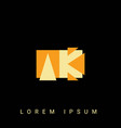 modern creative shaped ak ka a k logo initial