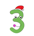 Number Three Christmas Cartoon vector image vector image