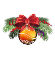 Orange bauble with red bow vector image vector image
