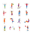 park activities flat icons set vector image