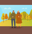 people walking in autumn park couple on date vector image