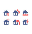 set icons related to house insurance theme vector image