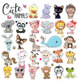 set of cute cartoon animals vector image