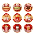 set of fast food logos stickers vector image
