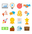 set of flat business start up icons vector image