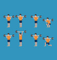 set of man in bodybuilding and weight training vector image