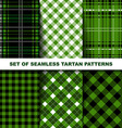 Set of seamless tartan patterns Green version vector image vector image