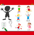 shadows game with cartoon kid characters vector image vector image