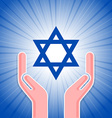 Star of David with hands vector image vector image