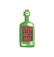 stop alcohol bottle bad habit alcohol addiction vector image vector image