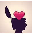 Thinking concept-Human head with heart symbol vector image vector image