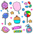 various candy food cake doodle style vector image