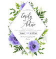 wedding modern floral invite card design vector image