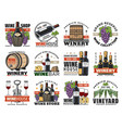 wine winemaking and viticulture icons set vector image vector image