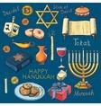 Hanukkah traditional jewish holiday symbols set vector image