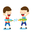 Two boys are playing with a water gun vector image