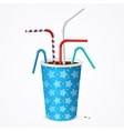 Drinking Straws and Blue Cup vector image