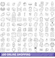 100 online shopping icons set outline style vector image