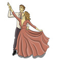 a guy in a tuxedo and a girl in a puffy pink dress vector image vector image