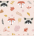 autumn seamless pattern with forest animals vector image vector image