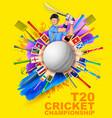 Batsman playing cricket championship vector image