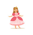 beautifull little girl princess in pink ball dress vector image