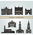 Bruges landmarks and monuments vector image vector image