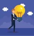 businessman with bulb light idea vector image vector image