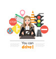 businesswomen drive a car set of road symbols and vector image vector image