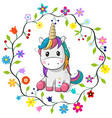 cartoon unicorn in a flowers frame vector image vector image
