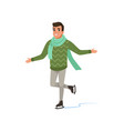 cheerful young man in green sweater and scarf ice vector image vector image