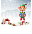 christmas background with elf holding gift box vector image vector image