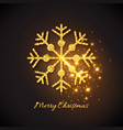 christmas gold snowflake with glowing lights vector image vector image