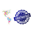 christmas sale collage of mosaic map of south and vector image vector image