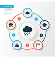 climate icons set collection of cloudy flag sun vector image vector image