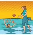 coach playing with children sport water Polo vector image