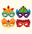 Collection of cartoon carnival masks decorated vector image