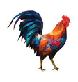colorful polygonal rooster on a white background vector image