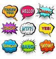 Comic speech bubbles set bright dynamic pop art