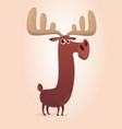 cute cartoon moose character vector image vector image