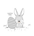 easter time poster with bunny and big easter egg vector image