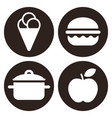 eating icons set isolated on white background vector image