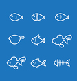 fish icon line vector image vector image