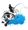 fishing from an inflatable boat vector image vector image