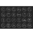 Fitness linear icons set Chalkboard vector image